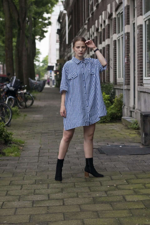 Outfit, vintage, blue white, stripes, Vagabond, boots