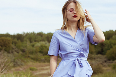 ootd, cos, wrap dress, polette, sunglasses